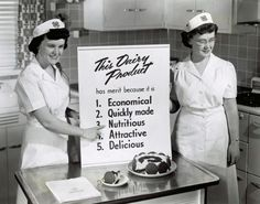 historical photo that reads This Dairy Product has merit because it is Economical Quickly made Nutritious Attractive Delicious Retro Recipes, Vintage Recipes, Bobs Burger, 4 H Club, Server Life, Us Department Of Agriculture, Baby Boomer, Food Pyramid, Home Economics