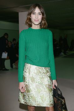 Alexa Chung attends the Prada show during the Milan Fashion Week F/W 2015