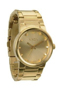 This men's 'Cannon' watch from Nixon has a fresh look and a goldtone case with a matching steel bracelet. The gold dial sets the stage for stick markers and hour and minute hands for easy and precise time-telling. Online Watch Store, Beautiful Watches, Watches For Men, Nixon Watches, Gold Watches, Wrist Watches, Cannon, Champagne, Accessories