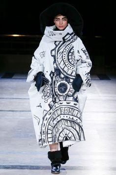 Graphic cog print dress with soft sculptural silhouette // Yohji Yamamoto