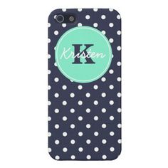 Navy and Mint Dots, Initial, and Name Cases For iPhone 5