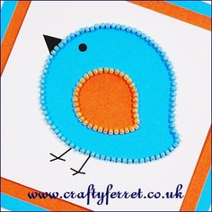 Free print & bead bird card topper pattern and coordinating backing paper from www.craftyferret.co.uk
