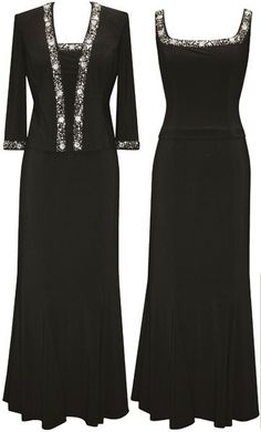 For Mother of the Bride - Alex Evenings 135408 Matte Jersey 2 pc Long Jacket Dress with Sequin Beaded Trim. This is actually... Not bad. Certainly not in black though