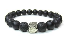 Mens black onyx bracelet with lava rocks and pyrite nugget. Stretch mens lava rocks bracelet. Modern jewelry. on Etsy, $39.00