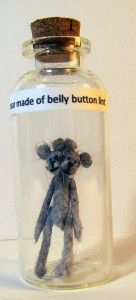 Siamese Twin Bear made of Belly Button Lint