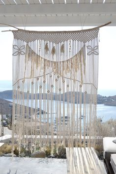 My custom-made macrame piece for an amazing place in Ios island, Ios club #macrame #macramecurtain #curtain #boho #bohemian #homedecor #hoteldecor #exteriordecor #interiordecor #handmade #wallhanging #modernmacrame #vintage #bohochoco #lace #cottonrope #weddingbackdrop #weddingdecor #iosclub