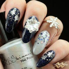 """Let It Snow"" Products: KBShimmer Carpe Denim, KBShimmer Fleece Navidad, KBShimmer Oh Holo Night, Swarovski Edelweiss Fancy Stone Crystal"