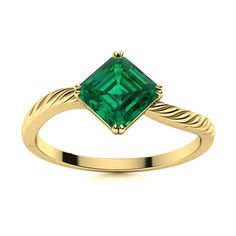 Feliks Emerald ring in 14k Yellow Gold isn't a fussy ring, it will go with anything that you wear. A customised princess cut gemstone of your choice is carefully placed between a twist band, making it a unique choice. Natural Emerald Rings, Love Ring, Solitaire Ring, Princess Cut, Shades Of Green, Vintage Rings, Ring Designs, Tea Party, White Gold
