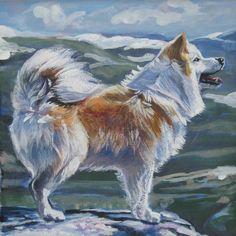 Icelandic Sheepdog art print CANVAS print of LA by TheDogLover