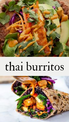 These punchy Thai Burritos are filled with peanut chili tofu, avocado, black rice, spicy sriracha black beans, shredded crunchy veggies and drizzled with Thai peanut sauce, wrapped up in a warm, whole wheat tortilla. Vegan! With a video.