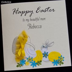 Unique Easter card. Hand made, with personalization for loved ones for you people. The leitmotif is a basket, which came out Easter eggs and hidden behind the Easter bunny. http://www.handmadecards24.co.uk/product/easter_bunny_eggs