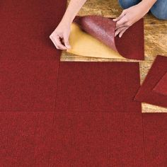 "Brylanehome Peel-N-Stick Carpet Tiles by BrylaneHome. $14.99. Add Carpeted Comfort To Cold, Dingy Floors. Peel-n-stick Carpet Tiles are the quick-n-easy way to transform cement, wood, linoleum and vinyl floors, adding soft texture and rich color. Polyester squares won't fray, stain or fade - resist moisture and mold, too. Ten 12"" square tiles cover 12 sq. ft.; trim to fit. Spot clean and vacuum. Use a single color, or create geometric multi-color designs!"