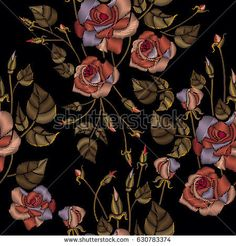 Classic embroidery, beautiful roses flowers hand drawn pattern vector. Roses embroidery seamless pattern on black background. Template for fashion clothes, t-shirt design