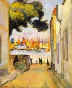 Street by the Port at Collioure, 1921 - Henri Lebasque (French, 1865-1937) Post-Impressionism
