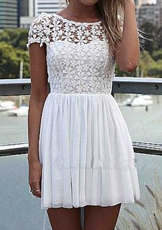 #SALE White Short Sleeve Hollow Floral Crochet Pleated Dress #Sheinside