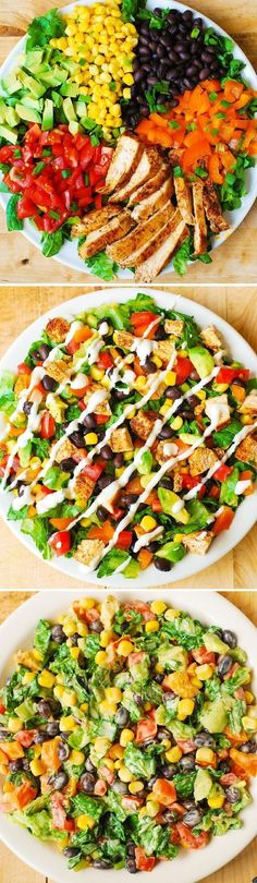 Southwestern Chopped Salad (chicken avocado corn black beans lettuce tomatoes bell pepper) with Buttermilk Ranch Dressing ad sponsored by Hidden Valley Healthy Salads, Healthy Eating, Dinner Healthy, Camping Food Healthy, Heathy Lunch Ideas, Healthy Meals For Dinner, Simple Healthy Meals, Healthy Foods, Clean Simple Eats