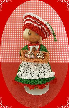 "Crochet Doll Clothes Christmas Cookies for 4 ½"" Kelly Same Sized Dolls 