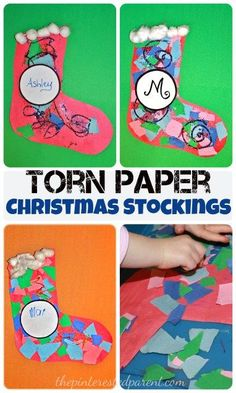 Torn Paper Christmas Stocking Mosaics With Glitter