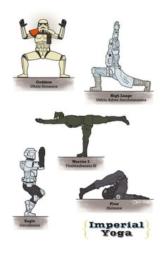 Texas-based illustrator Rob Osborne has created a series of posters depicting Star Wars characters in various yoga poses.     Titled 'Galaxy Yoga', the collection features Princess Leia, Darth Vader, Boba Fett, Luke Skywalker, Yoda (naturally), RD-D2, C-3PO and a host of other Imperial baddies in a total of 28 yoga poses.