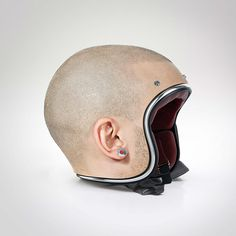 Custom-Made Helmet Designs That Look Like Shaved Human Heads-Dubai-based artist Jyo John Mulloor has used his photo manipulation skills to create an interesting series of custom-made helmet designs that look like shaved human heads. The entire collection of photos are available to view on Mulloor's portfolio website and on Behance.