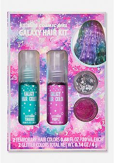 Just Shine Cosmic Girl Galaxy Hair Kit Kids Makeup, Cute Makeup, Gold Makeup, Justice Makeup, Toys For Girls, Tween Girls, Justice Accessories, Unicorn Fashion, Hair Kit