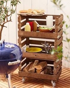 BBQ Caddy made from crates - having all the essential gear handy.