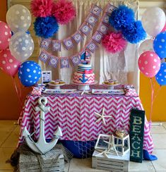 Noelle J's Baby Shower / Nautical - Ella's Nautical Baby Shower at Catch My Party Fiesta Baby Shower, Baby Shower Parties, Baby Shower Themes, Shower Party, Spa Party, Shower Ideas, Anchor Birthday, Girl Birthday, Anchor Party