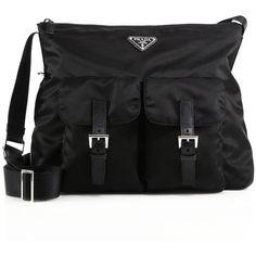 Prada Nylon & Leather Zip Messenger Bag ($990) ❤ liked on Polyvore featuring bags, messenger bags, apparel & accessories, black, zipper messenger bag, nylon bag, logo messenger bag, zip bags and nylon messenger bag