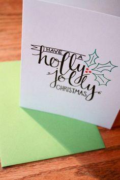 A Holly Jolly Christmas Card | Handmade Calligraphy Christmas Cards