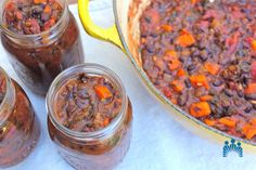Black bean chili with sweet potato and chard recipe. Batch cook and freeze for later!