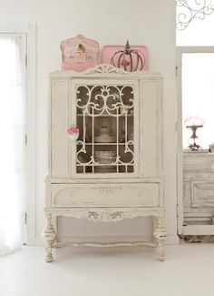 Painted white china cupboard,,nice!