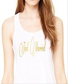 Just Married Racerback Tank Top, Customize Your Color, XS-XL,Workout Top, Funny Tank Top, Bridal Apparel, Honeymoon Apparel, Wedding Apparel by RomanticSouthern on Etsy