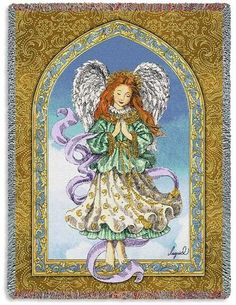 Personalized Angel in Prayer Tapestry Throw
