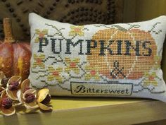 Pumpkins & Bittersweet is the title of this cross stitch pattern from The Scarlett House that is just the right size for a quick autumn stitching project. The model is stitched on 40 Ct but you can choose any fabric and count you wish. The fibers used are Gentle Art Sampler threads (Brandy, Fragrant Cloves, Pumpkin Pie, Gold Leaf, Pecan Pie and Black Licorice). An alternative chart is provided if you do not wish to stitch the words 'bittersweet' over one.