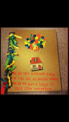 An Up inspired gift made for a colleague leaving, the balloons are children's finger prints of those she looked after