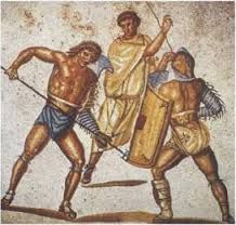 Gladiators used different wepons during games.  (rebekah F)