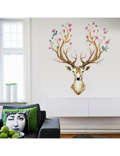 DIY Sika Deer Head Flowers Wall stickers For Living Room Art Vinyl Wall Decals For Kids Baby Home Decor adesivo de parede Family Tree Wall Decal, Kids Wall Decals, Wall Stickers Murals, Removable Wall Stickers, Flower Wall Stickers, Diy Tapete, Modern Bedroom Decor, Diy Wallpaper, All Nature