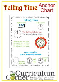 Telling Time Anchor Chart Free From The Curriculum Corner Math Notebook Telling Time Activities, Teaching Time, Teaching Math, Teaching Ideas, Maths, Math Games, Math Math, Math Classroom, Math Activities