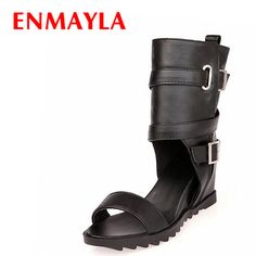 ==> [Free Shipping] Buy Best ENMAYLA Women Open Toe Wedges Heels Summer Boots Med Heels Buckle Motorcycle Boots Black White Shoes Punk Half Boots Size 43 Online with LOWEST Price | 32358566194