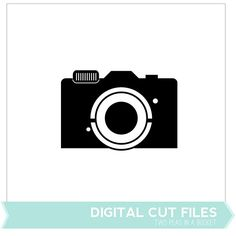 Free camera (cut file or digital image) from Two Peas in a Bucket. 1 shape in PNG and SVG formats with a tutorial PDF included. #Silhouette #CutFile