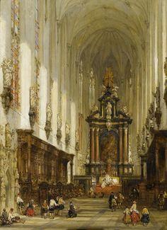 The interior of St Paul's Church, Antwerp, 1859, David Roberts