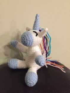 These cute little crochet Unicorns are approximately in height. They are filled with safe polyester. They were one of my first items I made. Crochet Unicorn, Crochet Toys, Dinosaur Stuffed Animal, Handmade Gifts, Etsy, Kid Craft Gifts, Craft Gifts, Diy Gifts, Hand Made Gifts