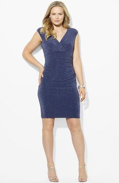 Lauren Ralph Lauren Ruched Shimmer Jersey Dress (Plus Size) available at #Nordstrom