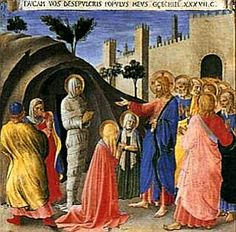 Scenes from the Life of Christ (2) - Fra Angelico.  1451-52.  Tempera on panel.  123 x 160 cm.  Museo di San Marco, Florence, Italy.  Scenes depicted are Raising of Lazarus, Entry into Jerusalem, Last Supper, Payment of Judas, Washing of the Feet, Institution of the Eucharist, Prayer in the Garden, Judas's Betrayal, Capture of Christ, Christ Before Caiaphas, Mocking of Christ, Christ at the Column.