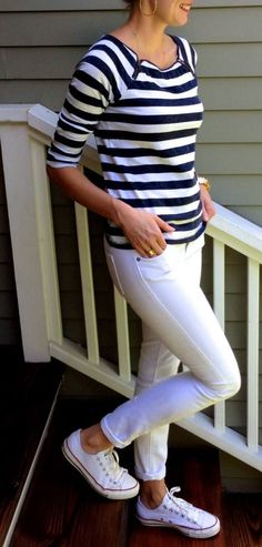 Classy not trashy!(: #modest #mykindashoes #stripes