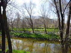 Detalle del río Manzanares con la Caja Mágica al fondo