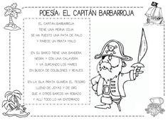 Poesía: El capitán Barbarroja #piratas #poesia #imprimible Pirate Decor, Reading Activities, Pirate Party, Summer School, Teaching, Education, Memes, Ideas, Gifts