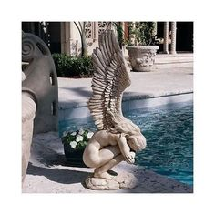 Angel Statue Pool Side Outdoor Yard Art Flower Garden Patio Accent Decor Elegant #Toscano
