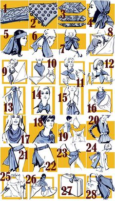 Vintage poster illustrating various ways to wear a silk scarf (via A Beautiful Mess)