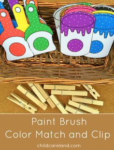 Paint brush color match and clip for color recognition and fine motor skills.